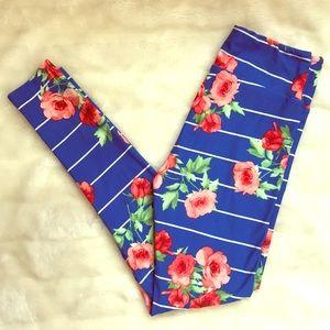 NWOT | floral & striped {LuLaRoe} OS leggings